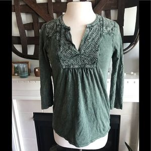 Lucky Brand embroidered placket top